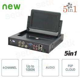 "DVR 4 Canali 5in1 ""Analogico/Ahd/Hdcvi/Hdtvi/Ip"" 1080N con monitor - Setik"