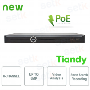 NVR 8 Canali 6MP PoE 2HDD Video... Tiandy TC-NR4008M7-P2 Registratori