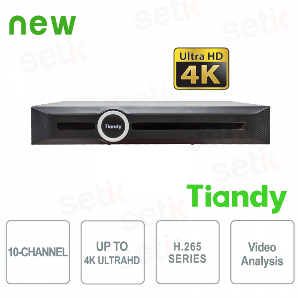 NVR 10-Channel 4K ULTRA-HD H.265 Video Analysis Smart Search&Recording - Tiandy