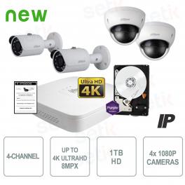 Kit Videosorveglianza 4 Canali IP + HD + Cam 2MP - Dahua