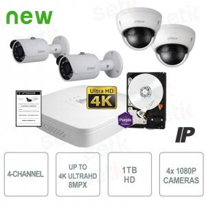 Kit Videosorveglianza 4 Canali... Dahua Technology KIT-4CH-HD-POE-1080P Kit Videosorveglianza IP