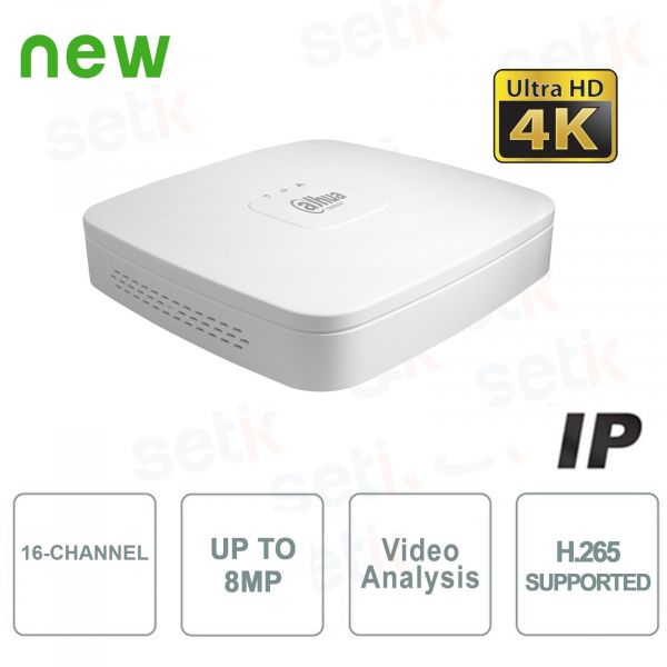 IP Channels 16 NVR 4K & H.265 up to 8MP 1HDD - Lite Series - Dahua