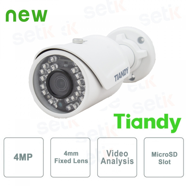IP Mini IR Bullet Camera 4MPX 4mm Video Analysis WDR - Tiandy