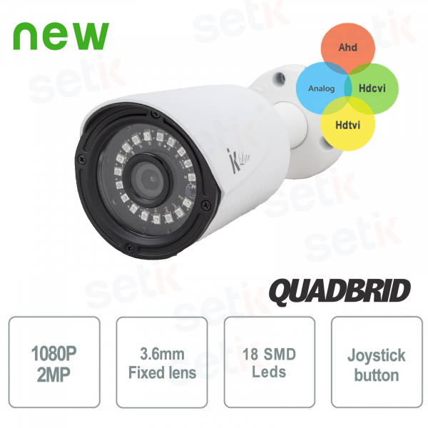"Telecamera Ibrida 4in1 ""Analogica/Ahd/Hdcvi/Hdtvi"" 1080P 3.6mm SMD Leds - Lite Setik"