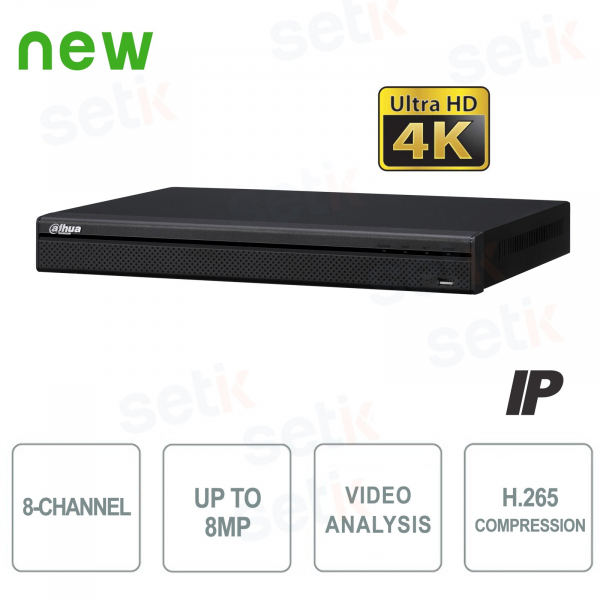 NVR IP 8 Canali H.265 4K 8MP 200Mbps Video Analisi - Dahua