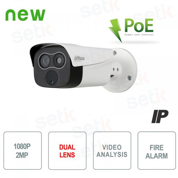 Dual-Lens Hybrid Thermal Camera Video Analysis and Fire Alarm - Dahua PoE