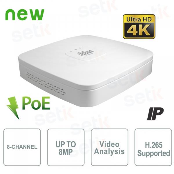 NVR IP a 8 Canali 4K&H.265 fino a 8MP 1HDD PoE - Dahua