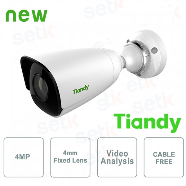 IP Mini IR Bullet Camera 4 MPX 4mm CableFree Video Analysis WDR - Tiandy