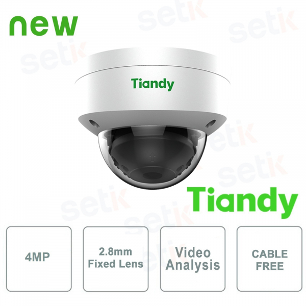 IP Mini IR Dome Cameras 4MPX 2.8mm CableFree Video Analysis WDR - Tiandy