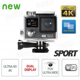 Telecamera Sportiva ULTRA HD 4K FishEye Doppio Display WiFi - Setik