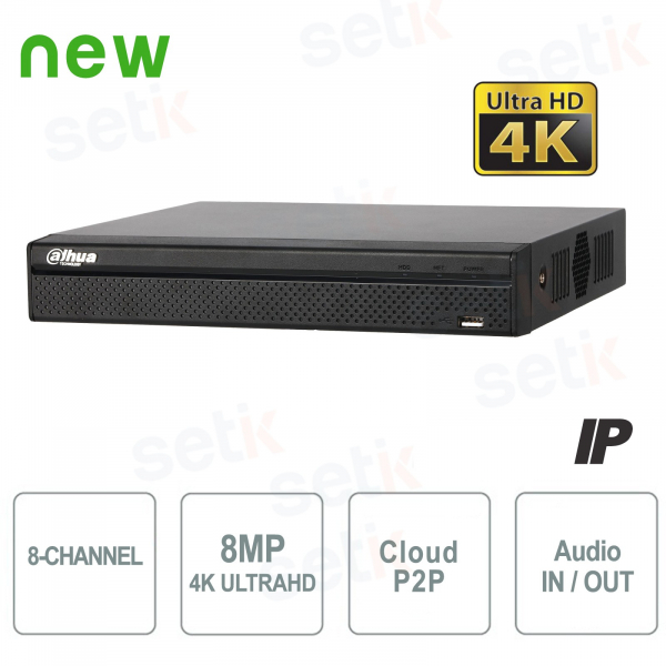 NVR IP a 8 Canali 4K&H.265 fino a 8MP 1HDD Audio - Serie Lite Dahua