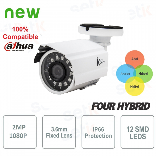 Telecamera Videosorveglianza Ahd 1080P 4in1 2 MP 3.6 mm 12 Led IR