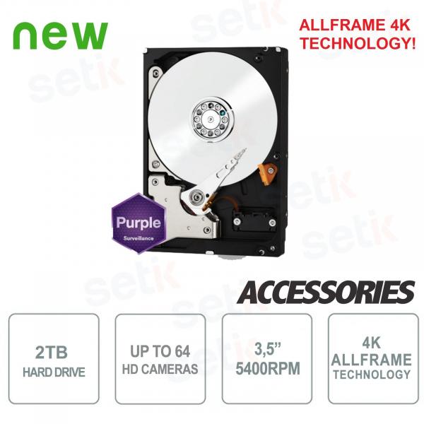 """HD Hard Drive 2TB Audio Video SATA 3.5"""" AllFrame 4K - WD"""