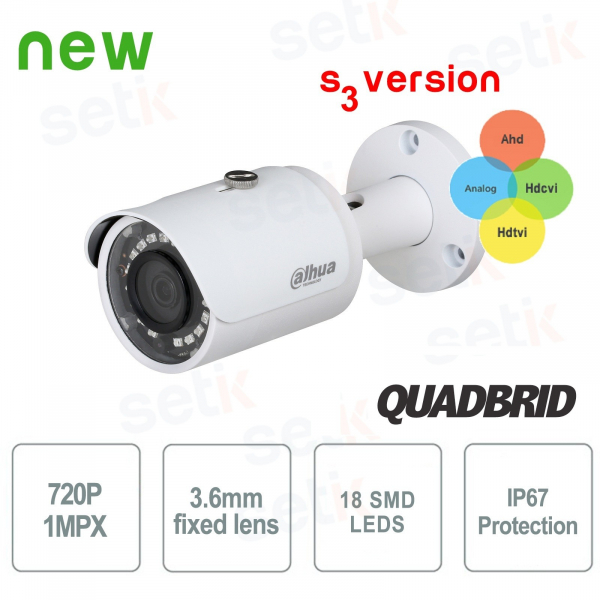 720P Dahua 4in1 Bullet 3.6mm SMD Camera