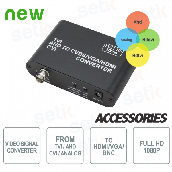 Video Signal Converter from TVI / AHD / CVI / ANALOG to HDMI / VGA / BNC - Setik