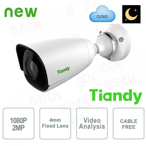 Telecamera IP Mini Bullet 2MP Starlight 4mm CableFree Video Analisi WDR - Tiandy