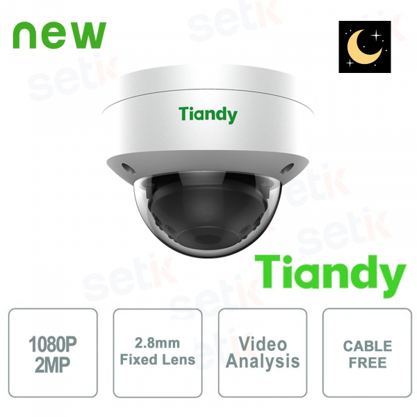 IP Mini Dome Camera 2MP Starlight 2.8mm CableFree Video Analysis WDR - Tiandy