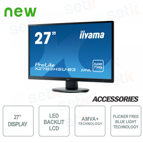 "ProLite 27 ""Monitor AMVA + 4ms Flicker Free Speakers - IIYAMA"