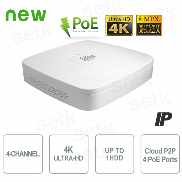 NVR IP 4K ULTRA-HD 4 Canali 8MP 1HDD PoE P2P - Dahua