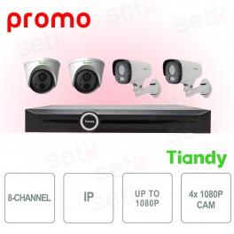 Kit Videosorveglianza NVR 8 Canali + 4 Cam 1080P - Tiandy