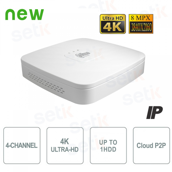 NVR IP 4K ULTRA-HD 4 Channels 8MP 1HDD P2P - D