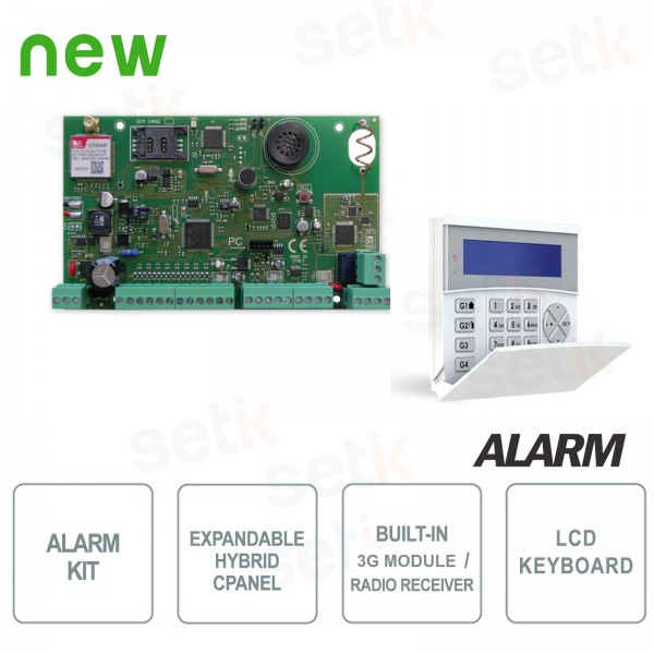 Alarm central unit 8-64 Zones 3G Radiov Receiver + Keyboard Kit - AMC