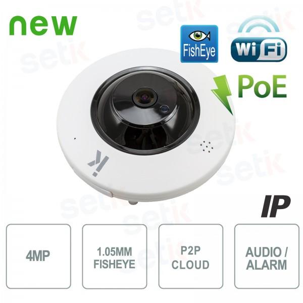 Cámara IP inalámbrica H.265 de 4MP con alarma de audio PoE Fisheye - Setik