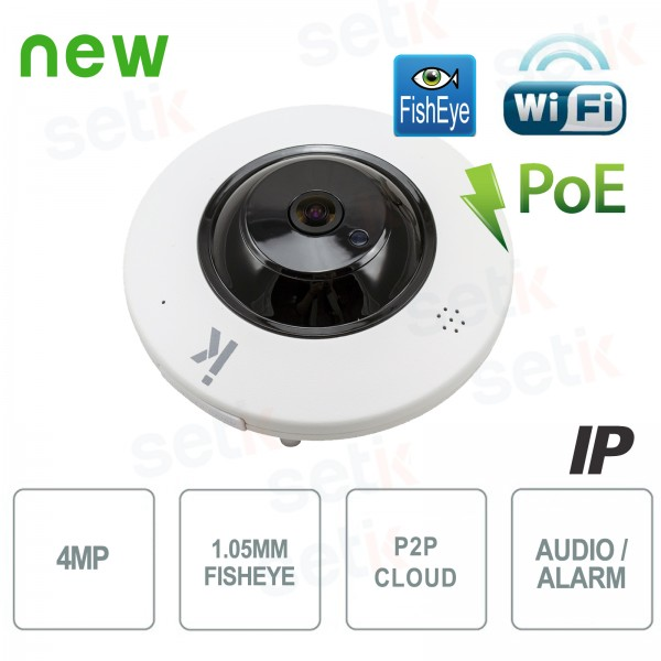 Telecamera IP Wireless 4MP H.265 Fisheye Audio Allarme PoE - Setik