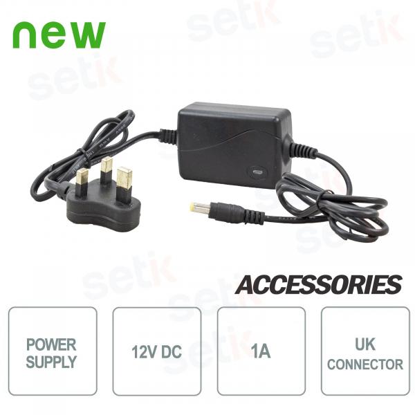 12V 1A Power Supply - UK Plug - Suitable for 1 CCTV camera power source