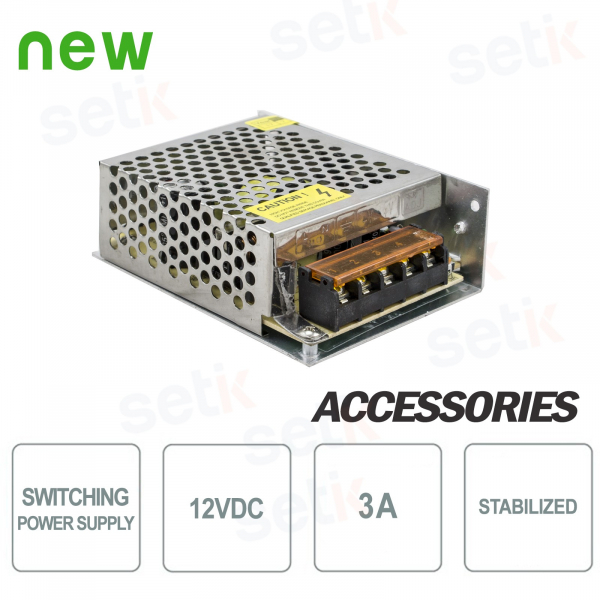 12V SWITCHING 3A POWER SUPPLY - STABILIZED - SETIK