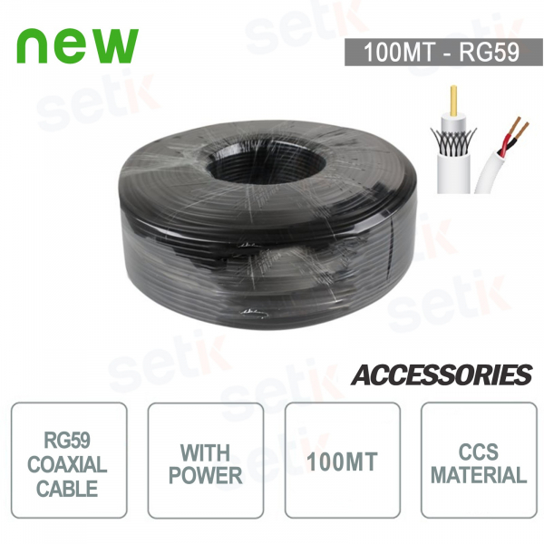 RG59 Coaxial cable Skein 100MT ccs + Power