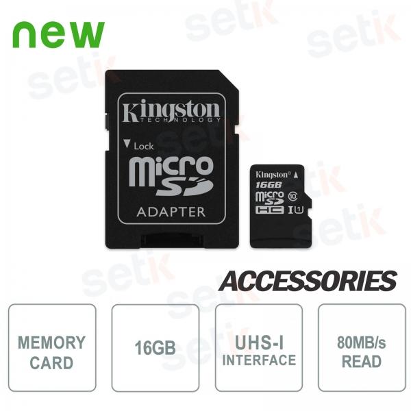 Scheda microSD Canvas Select 16GB Classe 10 - Kingston