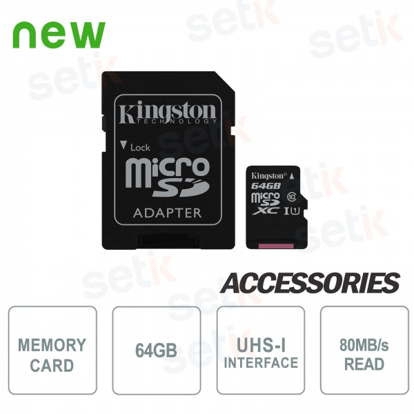64GB Class 10 MicroSD Canvas Select Card - Kingston
