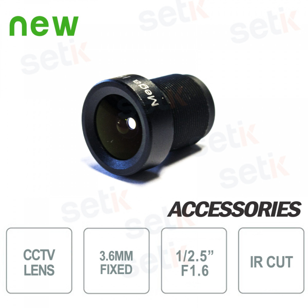"3.6mm lens 3Mpx. F1.6 1 / 2.5 "". S-MOUNT. HFOV 96 °"