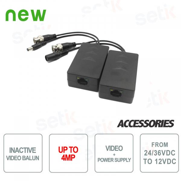 HDCVI 4MP Passive Video Balun Pair with Power - Dahua