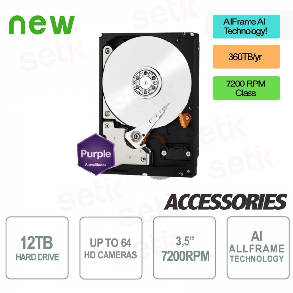 HD 12TB Purple Version Hard Disk - High Quality - Audio / Video - Western Digital