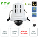 Telecamera IP 2MP Dome Starlight da incasso PoE Dahua