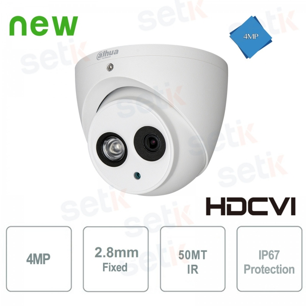 Telecamera HD CVI 4MP Dome 2.8mm IR 50MT Dahua