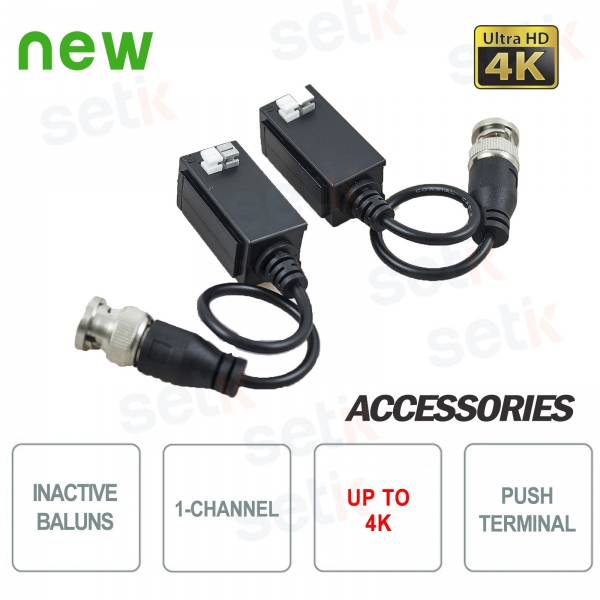 Pair of Passive 4K Video Baluns 1 Channel - HDCVI HDTVI AHD - Setik
