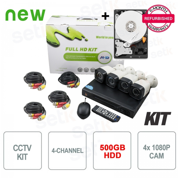 AHD 4-channel video surveillance kit 5in1 1080P + HDD Tribute - Setik