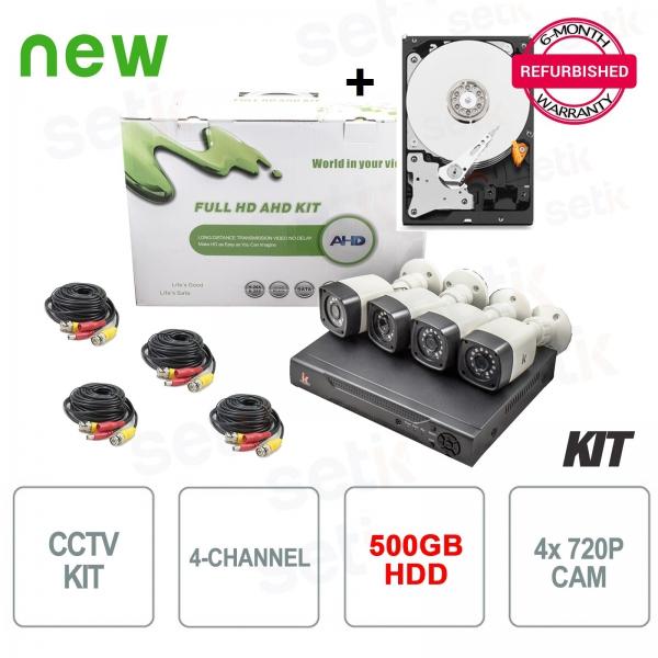 Kit de videovigilancia de 4 canales AHD 720P 1MP + HDD Gift Setik