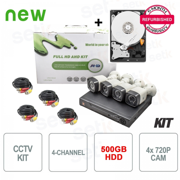 Kit Videosorveglianza 4 Canali AHD 720P 1MP + HDD Omaggio Setik