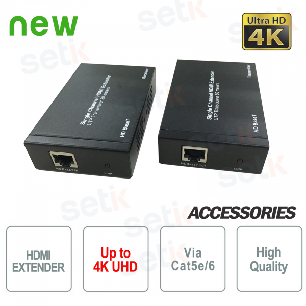 4K UHD HDMI Extender with IR over Cat5e / Cat6 80M cable - Dahua