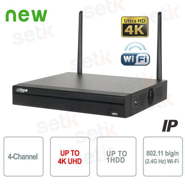 NVR 4 Channels IP 8MP 4K 80Mbps WiFi H.265 P2P - Dahua