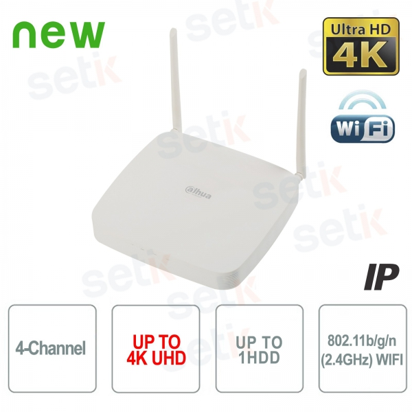 NVR 4 canales IP WIFI Dahua 4K 8 MP 80Mbps H.265
