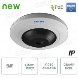 Telecamera IP PoE Panoramica 5MP Fisheye IR WDR Hyundai