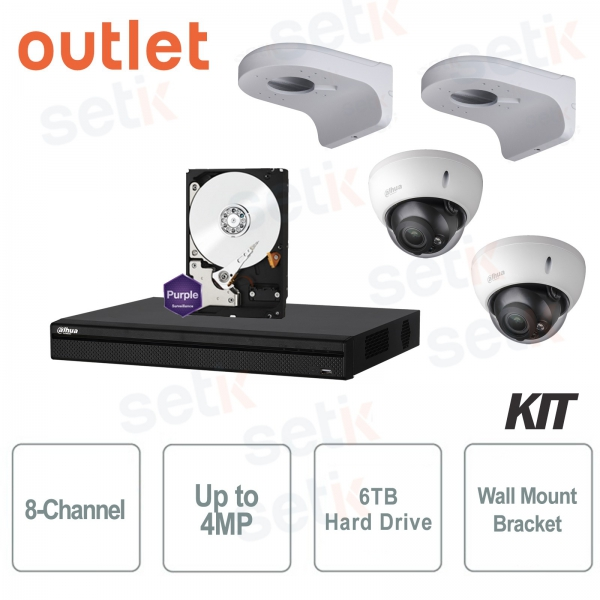 KIT 8 Channels HD CVI 4Megapixel Complete Dahua - Outlet
