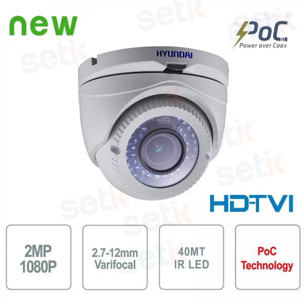 Hyundai PoC video surveillance camera 2 MP HDTVI Dome 2.7-12 mm IR