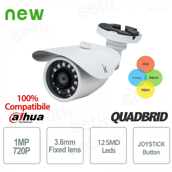 "4in1 Hybrid Video Surveillance Camera ""AHD + TVI + CVI + ANALOG"" 1MP 3.6mm - Eco Setik"