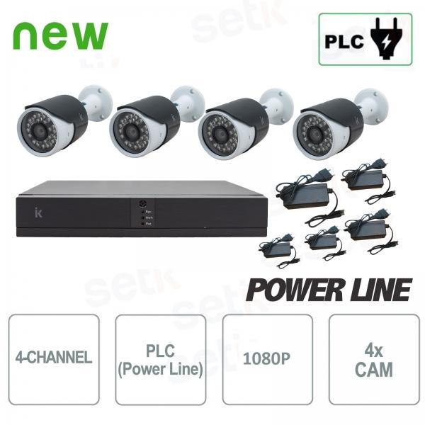 Kit 4 Canali 1080P H.265+ PLC Power Line su Presa Elettrica - Setik